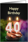 40th birthday with candles card