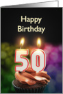 50th birthday with candles card