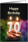 70th birthday with candles card
