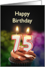 75th birthday with candles card