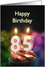 85th birthday with candles card