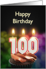 100th birthday with candles card