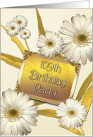 109th Birthday party invitation with daisies card
