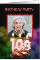 Add your photo, 109th birthday party with candles and cupcake card