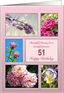 Age 51, beautiful flowers birthday card
