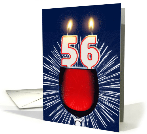 56th birthday wine and birthday candles card (1476954)