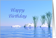 Spa Like,Tranquil, Blue Birthday card