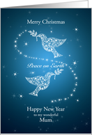 Mum, Doves of Peace Christmas card