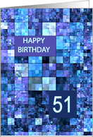 51st Birthday, Blue Squares, card