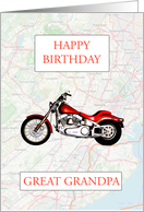 Great Grandpa Birthday with Map and Motorbike card