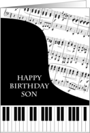 Son Piano and Music Birthday card