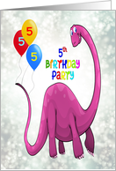 5th Birthday Party Dinosaur and Balloons card