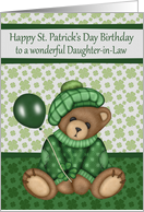 Birthday on St. Patrick's Day to Daughter-in-Law, bear with balloon card