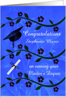 Congratulations on Earning Master's Degree Custom Name Card
