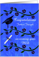 Congratulations for Earning PhD Custom Name Card with Graduation cap card