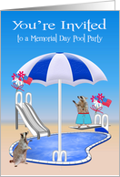 Invitations to Memorial Day Pool Party, general, Raccoons, pool side card