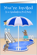 Invitations to Graduation Pool Party, general, Raccoons, pool side card