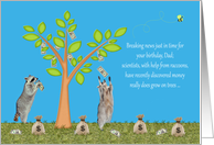 Birthday on April Fools Day to Dad, raccoons with money tree, bags card