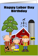 Birthday on Labor Day, general, farmers and a laborer on a farm card