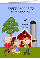 Labor Day from All Of Us, farmers and a laborer on a farm, cute cow card