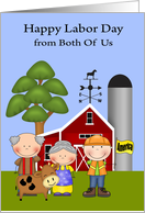 Labor Day from Both Of Us, farmers and a laborer on a farm, cute cow card