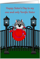 Sister's Day to Only Sister, Cat on a fence with red hat, light posts card
