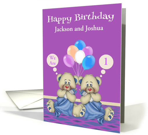 Birthday to Twin Boys Custom Name and Age Card with Bears... (1376992)