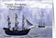 Birthday to Daughter's Boyfriend, Ships on the water bordered by trees card
