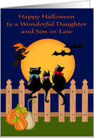 Halloween to Daughter and Son-in-Law with Cats Gazing at the Moon card