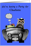 Invitations to Off to College Party, feminine, custom name, raccoon card