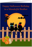 Birthday on Halloween to Brother, Three black cats gazing at the moon card