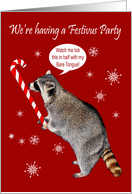 Invitations to Festivus Party, general, raccoon licking a candy cane card