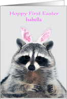 Easter, Baby's First, custom name, a cute raccoon with bunny ears card