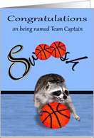 Congratulations being named team captain, basketball, raccoon card