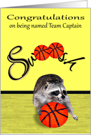 Congratulations on being named team captain, basketball, raccoon card