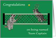 Congratulations on being named team captain, tennis, raccoons card