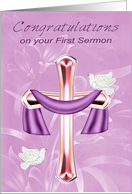 Congratulations on your First Sermon with White Doves and a Cross card