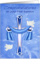 Congratulations on your First Sermon with an Elegant Cross and Doves card