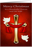 Christmas to Deacon and Wife with Two White Doves and a Red Cross card