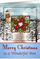 Christmas to Boss with a Snowy Lighthouse Scene and a Wreath card