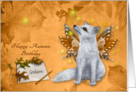 Birthday in Autumn/Fall to Godson, beautiful mystical fox with wings card