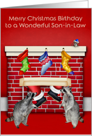 Birthday on Christmas to Son-in-Law, raccoons with Santa Claus, red card