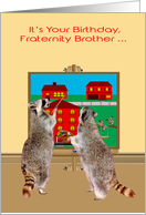 Birthday to Fraternity Brother, two raccoons painting the town red card