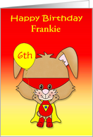 Birthday, custom name and age, super bunny with a mask, balloon card