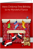 Birthday at Christmas Time to Fiance, animals with Santa Claus on red card