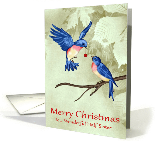 Christmas to Half Sister, two beautiful blue birds with... (1413426)