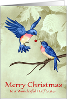 Christmas to Half Sister, two beautiful blue birds with red ornament card