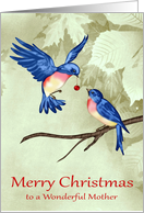 Christmas to Mother, two beautiful blue birds with a red ornament card