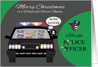 Christmas to Great Nephew, adorable raccoons in a police car, badge card
