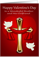 Valentine's Day to Brother and Girlfriend, religious, white doves card